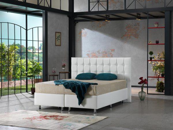 Lit design boxspring coffre rangement baza Bruxelles Lisa blanc 1