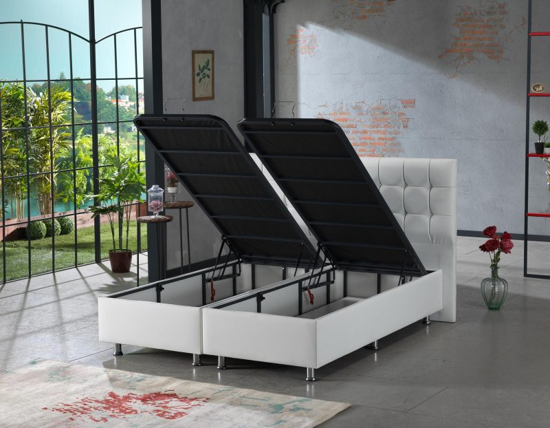Lit design boxspring coffre rangement baza Bruxelles Lisa blanc 2