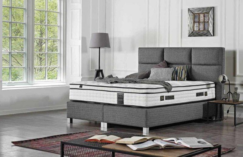 Lit design boxspring coffre rangement baza Bruxelles Vision